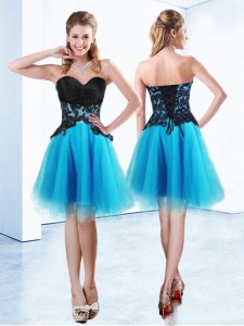 Fitting Sleeveless Organza Mini Length Lace Up Dress for Prom in Baby Blue with Appliques