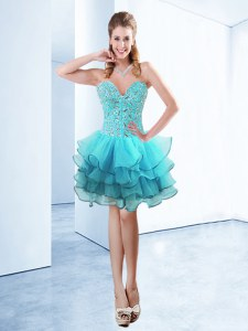 Nice Knee Length Aqua Blue Dress for Prom Organza Sleeveless Ruffles