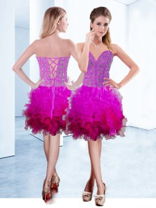 Eye-catching Fuchsia Lace Up Sweetheart Ruffles Dress for Prom Organza Sleeveless