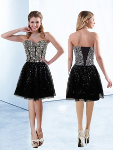 Super Black Lace Up Sweetheart Sequins Prom Dresses Sequined Sleeveless