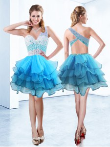 Suitable One Shoulder Sleeveless Prom Evening Gown Knee Length Beading and Ruffled Layers Aqua Blue Organza