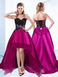 Flirting Fuchsia Sleeveless Appliques High Low Prom Party Dress