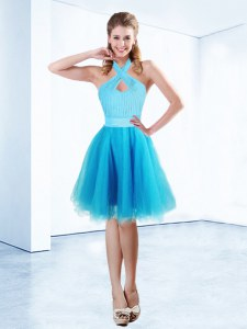 Hot Selling Halter Top Aqua Blue A-line Ruching and Belt Prom Dress Zipper Organza Sleeveless Knee Length