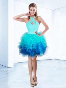 Halter Top Aqua Blue Ball Gowns Ruffles and Ruching and Belt Dress for Prom Zipper Organza Sleeveless Knee Length
