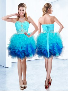 High End Blue Sweetheart Lace Up Beading and Ruffles and Ruching Dress for Prom Sleeveless