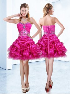 Beautiful Hot Pink Ball Gowns Beading and Ruffles and Pick Ups Prom Gown Lace Up Organza Sleeveless Mini Length