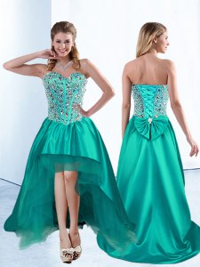 Beautiful Sleeveless Satin High Low Lace Up Prom Evening Gown in Teal with Beading and Bowknot