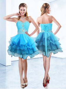 Beading and Ruffled Layers Homecoming Dress Blue Lace Up Sleeveless Mini Length