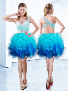One Shoulder Sleeveless Organza Dress for Prom Beading and Ruffles Criss Cross