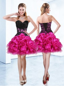 Pretty Fuchsia Evening Dress Prom and Party and For with Beading and Ruffles and Pick Ups Sweetheart Sleeveless Lace Up