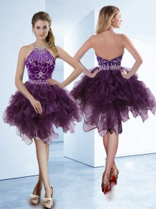 Fantastic Halter Top Dark Purple Sleeveless Beading Knee Length Prom Dresses