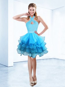 Halter Top Sleeveless Zipper Floor Length Ruffles and Ruching and Belt Prom Dresses