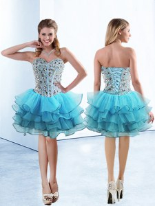 Baby Blue Sleeveless Beading and Ruffled Layers Knee Length Prom Dresses