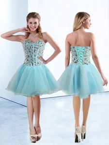 Light Blue Organza Lace Up Sweetheart Sleeveless Knee Length Prom Dresses Beading
