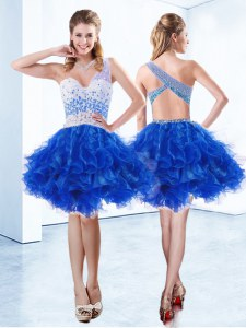 Sweet One Shoulder Royal Blue Sleeveless Organza Criss Cross Prom Gown for Prom and Party