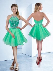 Halter Top Beading Prom Gown Turquoise Zipper Sleeveless Knee Length