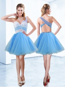 One Shoulder Sleeveless Knee Length Beading Criss Cross Prom Dress with Baby Blue