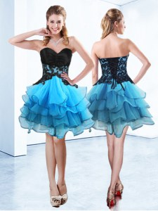 Stunning Sleeveless Ruffled Layers Lace Up Homecoming Dress