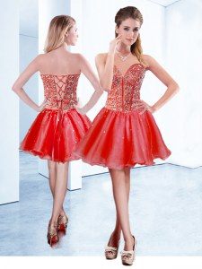 Latest Red Organza Lace Up V-neck Sleeveless Mini Length Prom Dresses Beading