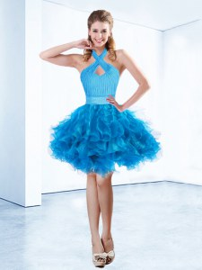 Halter Top Mini Length Baby Blue Prom Evening Gown Organza Sleeveless Ruching and Belt