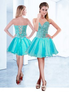 Glamorous Sleeveless Lace Up Mini Length Beading Prom Evening Gown