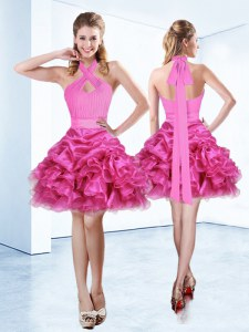 Flare Halter Top Organza Sleeveless Mini Length Dress for Prom and Ruffles and Ruching and Belt
