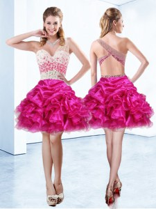 One Shoulder Fuchsia Sleeveless Knee Length Beading and Ruffles and Pick Ups Criss Cross Prom Dresses
