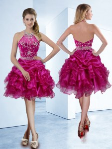 Organza Halter Top Sleeveless Zipper Beading and Ruffles and Pick Ups Homecoming Dress in Fuchsia