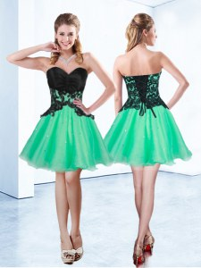 Turquoise A-line Appliques Homecoming Dress Lace Up Organza Sleeveless Mini Length