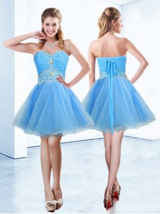 Delicate Blue Lace Up Sweetheart Beading and Ruching Prom Evening Gown Organza Sleeveless