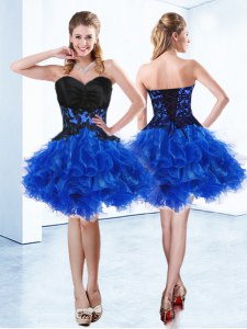 Sumptuous Mini Length Royal Blue Prom Party Dress Sweetheart Sleeveless Lace Up