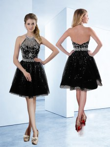 Black Prom Gown Prom and Party and For with Beading Halter Top Sleeveless Zipper