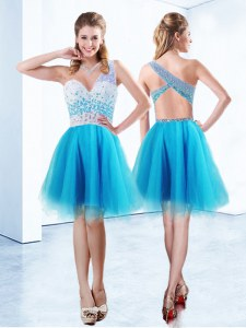 Glittering One Shoulder Baby Blue Sleeveless Knee Length Beading Criss Cross Prom Party Dress