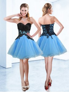 Spectacular Sweetheart Sleeveless Prom Gown Mini Length Appliques Blue And Black Organza