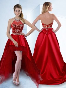 Great Red A-line Halter Top Sleeveless Satin High Low Zipper Beading Evening Dress