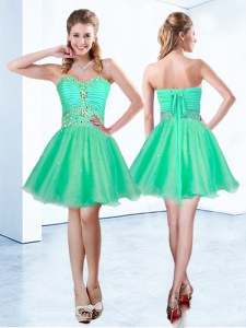 Flare Sleeveless Mini Length Beading and Ruching Lace Up Prom Party Dress with Turquoise