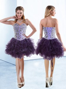Flirting Purple Sweetheart Lace Up Beading and Ruffles Prom Evening Gown Sleeveless