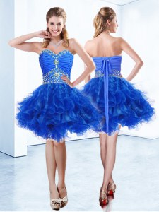 Best Selling Royal Blue Sleeveless Organza Lace Up Prom Evening Gown for Prom and Party