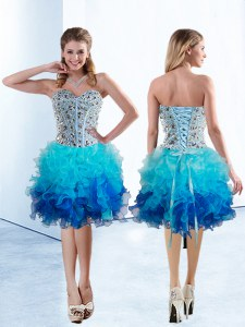 Organza Sweetheart Sleeveless Lace Up Beading and Ruffles Club Wear in Multi-color