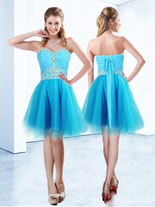 Custom Fit Knee Length Blue Prom Party Dress Sweetheart Sleeveless Lace Up