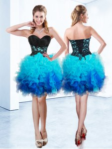 Mini Length Blue Homecoming Dress Sweetheart Sleeveless Lace Up