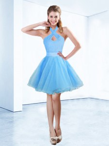 Modest Blue Zipper Halter Top Ruching and Belt Prom Dress Organza Sleeveless