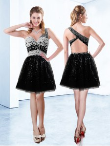 Tulle Sleeveless Mini Length Prom Party Dress and Beading and Sequins