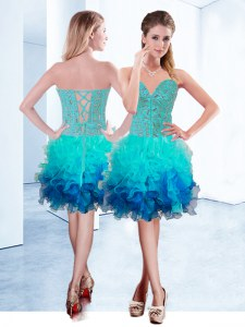 Super Aqua Blue Sweetheart Neckline Ruffles Prom Gown Sleeveless Lace Up