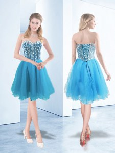 Luxury Knee Length Blue Prom Evening Gown Sweetheart Sleeveless Lace Up