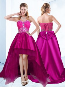 Sweet Beading and Ruching Prom Gown Fuchsia Lace Up Sleeveless With Brush Train
