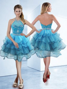 Traditional Baby Blue Zipper Halter Top Beading and Ruffled Layers Organza Sleeveless