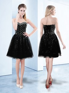 Fine Tulle Sweetheart Sleeveless Lace Up Beading and Sequins Prom Gown in Black
