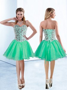 Most Popular Turquoise Organza Lace Up Prom Dress Sleeveless Knee Length Beading