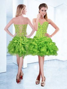 Lovely Sweetheart Sleeveless Organza Cocktail Dresses Beading and Ruffles Lace Up